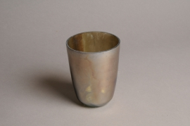 A010G2 Pearly glass candle jar D9cm H12cm