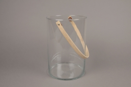 A010IH Glass light holder with bamboo handler H26.5cm