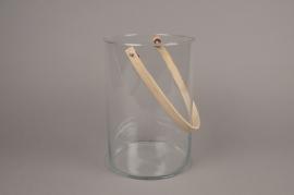 A010IH Photophore en verre et anse bambou H26.5cm