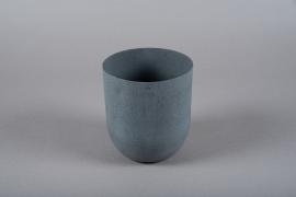 A010JY Cache-pot en métal gris D14cm H16cm