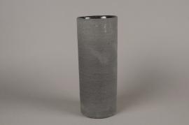 A010N8 Vase en terre cuite gris D12cm H30cm