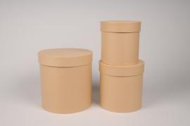 A010O1 Set de 3 boîtes en carton naturel D18cm H18cm