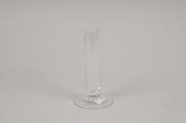 A010SH Soliflore en verre sur pied D3cm H15cm