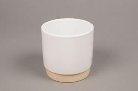 A010T3 Cache-pot en céramique blanc D11cm H11cm