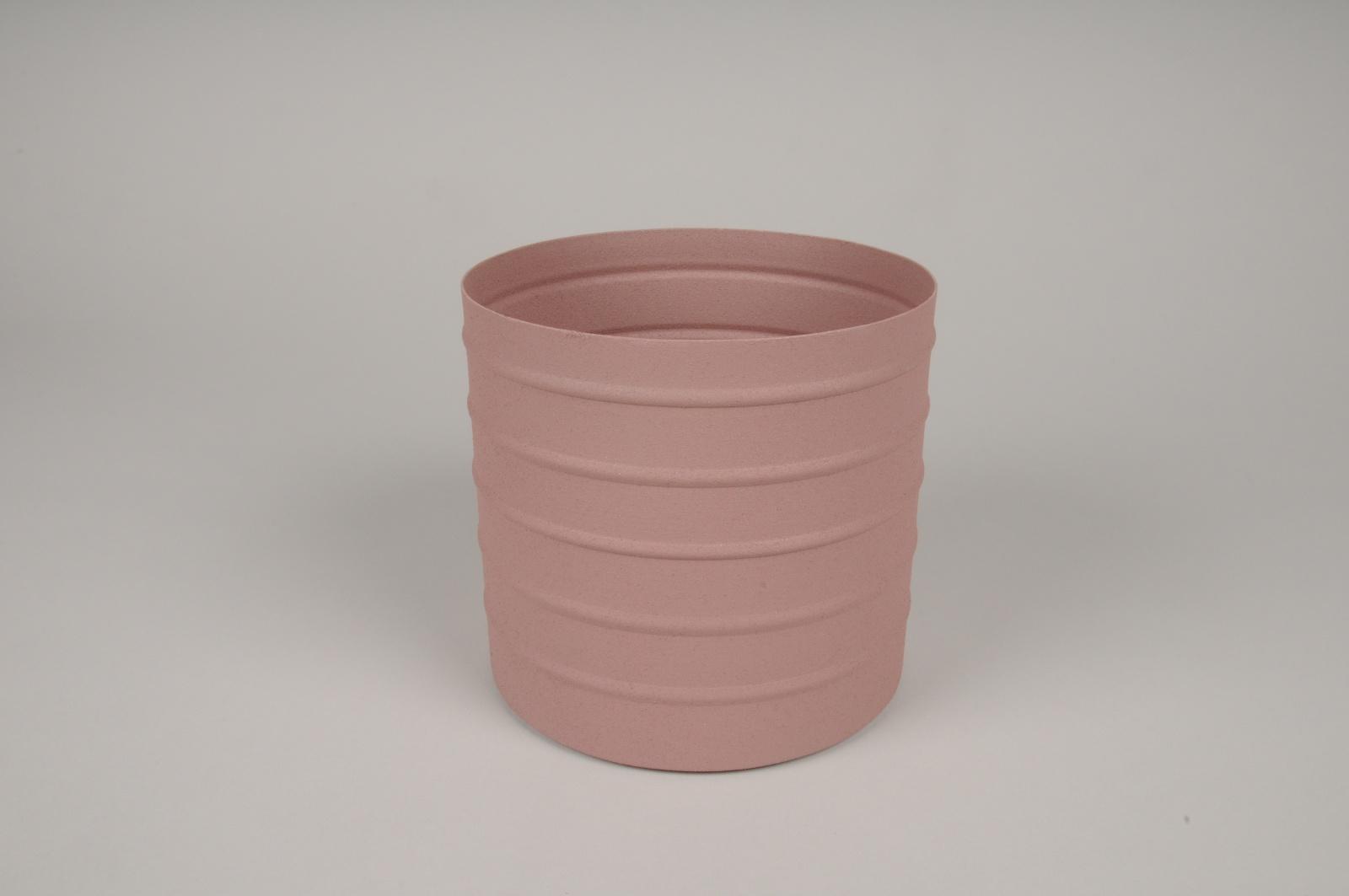 A010U9 Cache-pot en métal rose D15.5cm H14.5cm