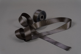 A010UN Grey satin ribbon 40mm x 25m