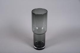 A010W3 Vase en verre fumé noir D15cm H42cm