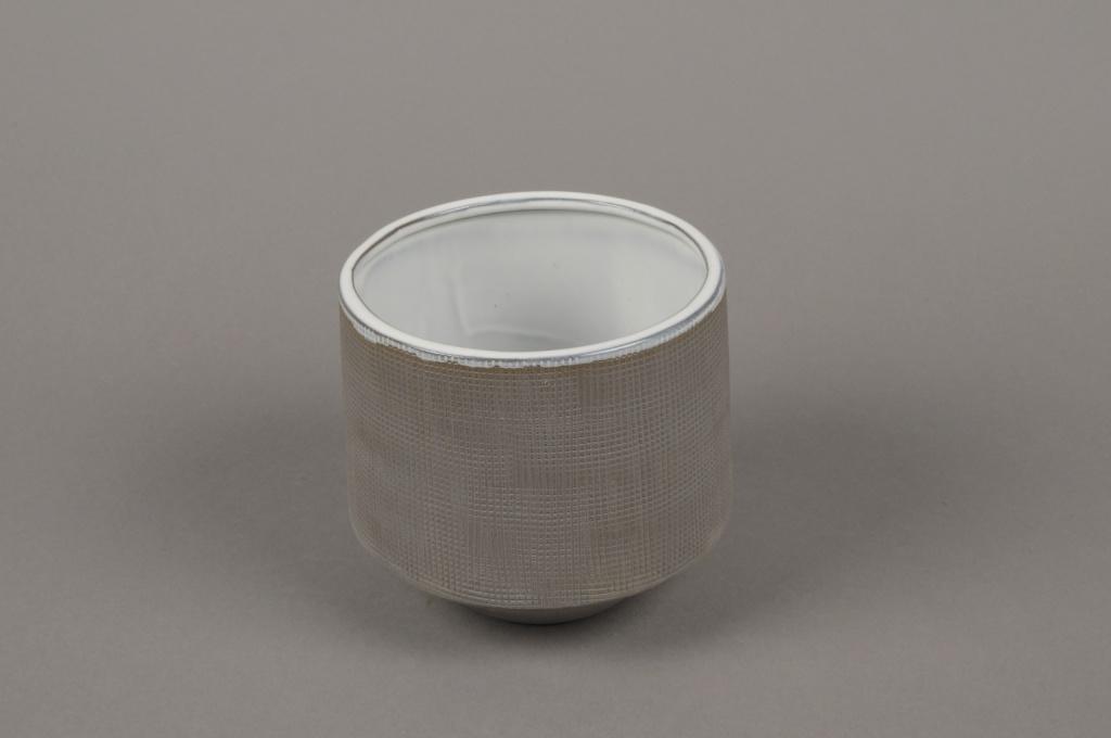A010W5 Cache-pot en grès gris D11cm H11cm