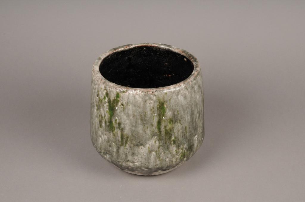 A010W6 Cache-pot en céramique vert D14,5cm H15cm