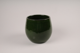 A010XD Green ceramic planter D21cm H18cm