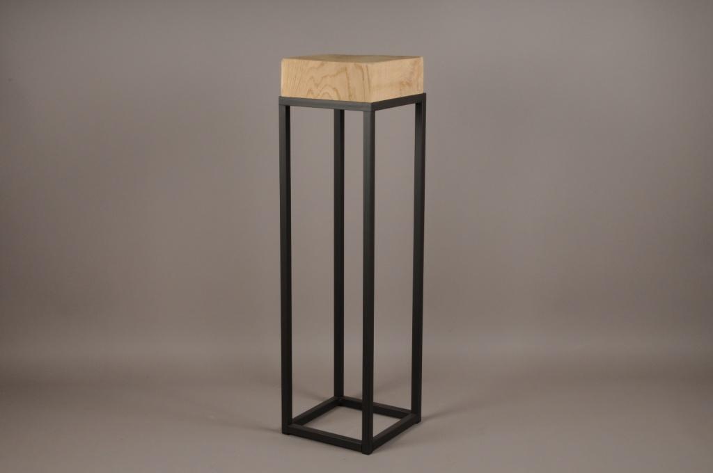 A010ZV Sellette en bois et métal 25cm x 25cm H90cm