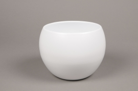 A011A8 White bowl ceramic planter D16cm H15cm