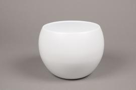 A011A8 White bowl ceramic planter D16cm H15cm