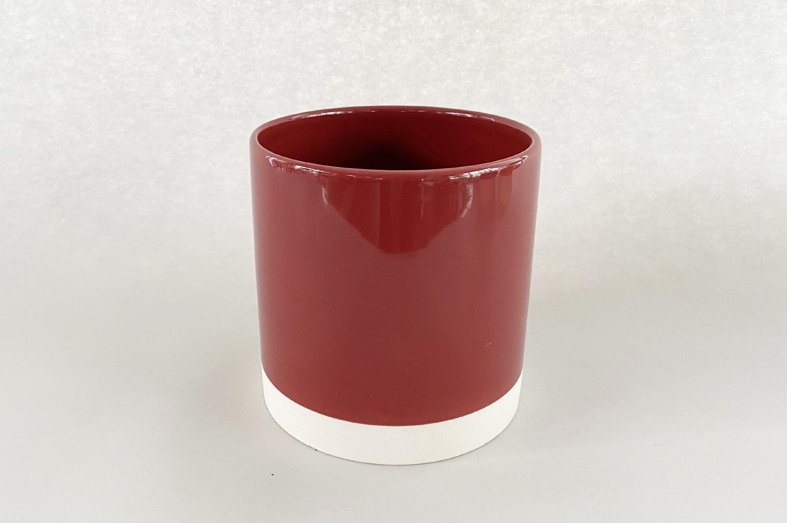 A011AA Cache-pot en céramique rouge D15cm H15.5cm