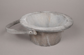 A011AV Grey wooden pot D18cm H10cm
