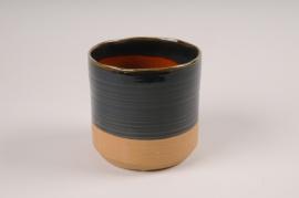 A011BJ Cache-pot en céramique bleu D12.5cm H12.5cm