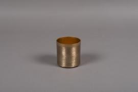 A011E5 Pot en métal brossé or D8cm H8cm