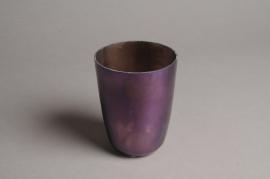 A011G2 Photophore en verre violet D9cm H12cm