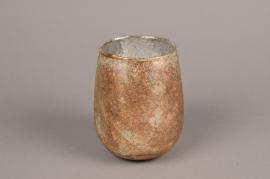 A011G7 Photophore en verre argent vieilli D11cm H14cm