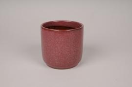 A011J6 Cache-pot en céramique rouge D11.5cm H11.5cm