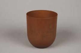 A011JY Cache-pot en métal rouille D14cm H16cm