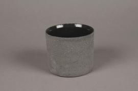 A011N8 Cache-pot en terre cuite gris D9cm H8.5cm