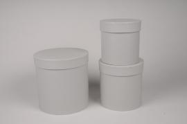 A011O1 Set de 3 boîtes en carton gris D18cm H18cm
