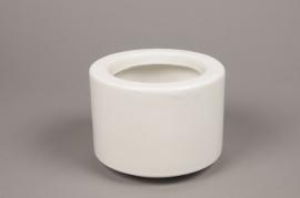 A011T3 Cache-pot en céramique blanc D17 cm H13 cm