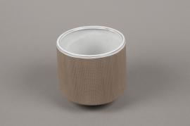 A011W5 Brown stoneware vase D11cm H11cm