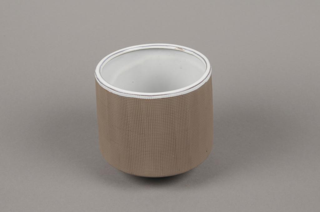 A011W5 Cache-pot en grès taupe D11cm H11cm