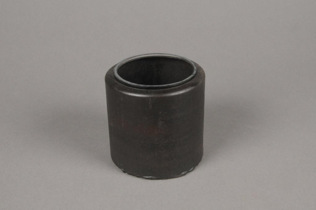A012A0 Cache-pot en métal avec pot en verre D9cm H9cm
