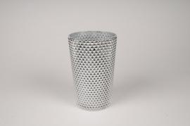 A012A3 Vase verre argent D13cm H20cm