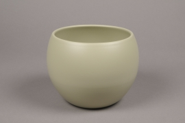 A012A8 Green bowl ceramic planter D16cm H15cm