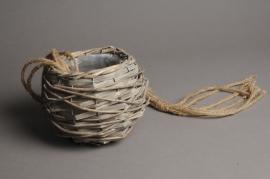 A012CB Hanging gray wicker pot D15cm H13.5cm