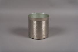 A012E5 Pot en métal brossé argent D15.5cm H15.5cm