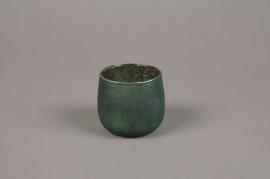 A012G2 Emerald glass candle jar D7cm H7cm
