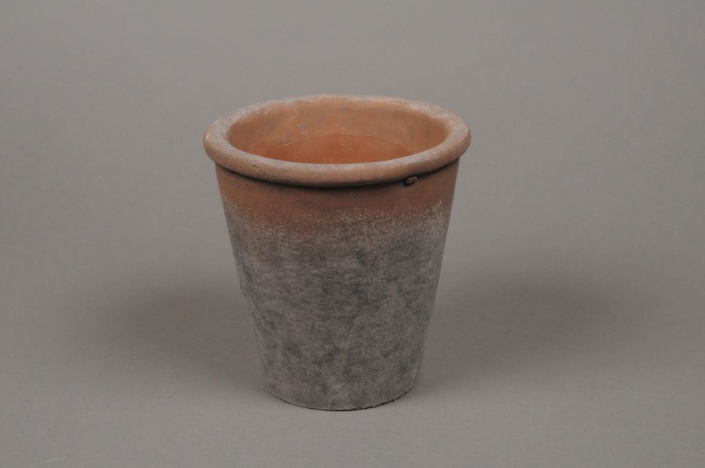 A012IH Cache-pot en terre cuite patiné D14cm H14.5cm