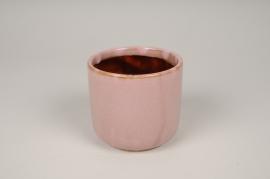 A012J6 Cache-pot en céramique rose D10cm H9cm