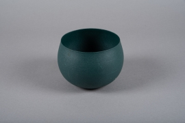 A012JY Green metal planter D16cm H11.5cm