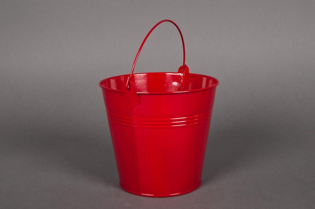 A012KM Seau en zinc rouge D11cm H10cm