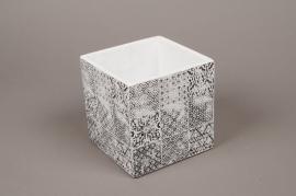 A012LE Cache-pot en céramique cube blanc 13.5x13.5cm H15cm