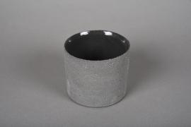 A012N8 Cache-pot en terre cuite gris D10.5cm H9cm