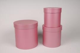A012O1 Set de 3 boîtes en carton rose D18cm H18cm