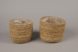 A012T3 Set 2 weaved natural fibers planter D16cm H13cm