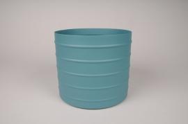 A012U9 Cache-pot en métal bleu D20.5cm H17.5cm