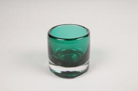 A012W3 Green glass vase D7cm H7cm