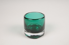 A012W3 Vase en verre vert D7cm H7cm