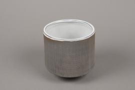 A012W5 Cache-pot en grès gris D12cm H13.5cm