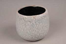A012W6 Cache-pot en céramique gris D15,5cm H13cm