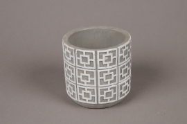 A012Y8 Cache-pot en béton gris et blanc D11cm H10.5cm